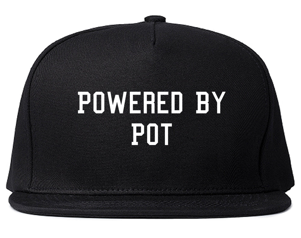 Powered By Pot Snapback Hat Black