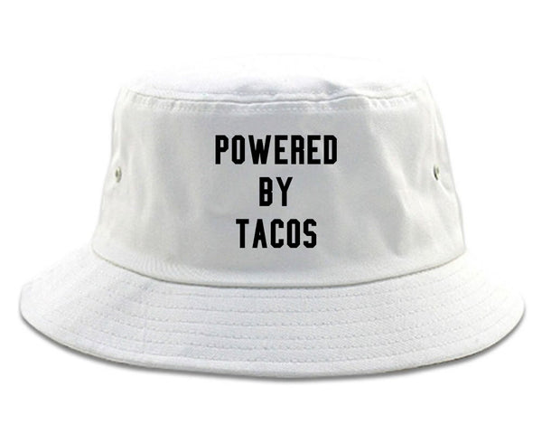 Powered By Tacos White Bucket Hat