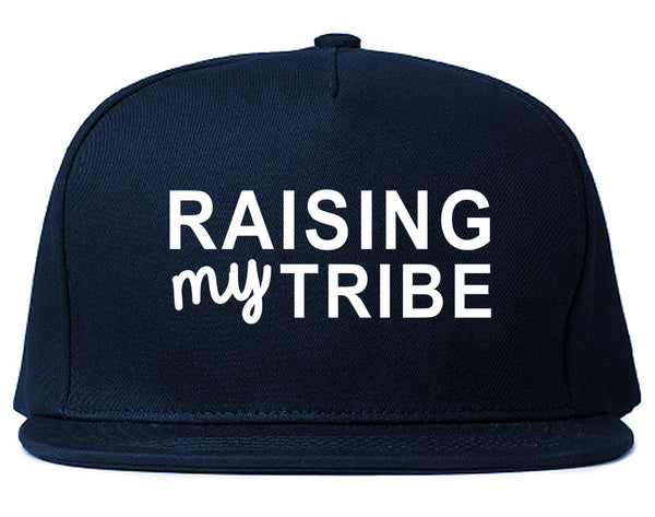 Raising My Tribe Mom Life Snapback Hat Blue