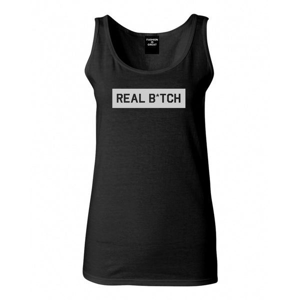 Real Bitch Box Black Womens Tank Top