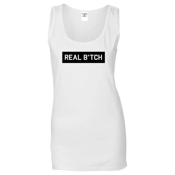 Real Bitch Box White Womens Tank Top