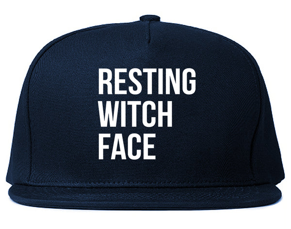Resting Witch Face Halloween Blue Snapback Hat