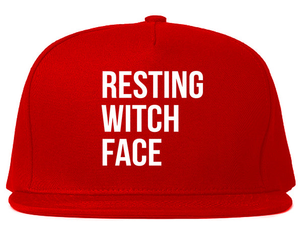 Resting Witch Face Halloween Red Snapback Hat