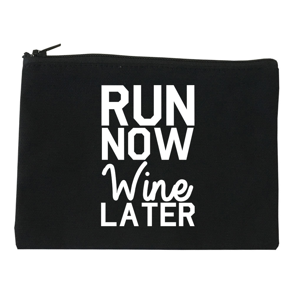 Run Now Wine Later Workout Gym Makeup Bag Red