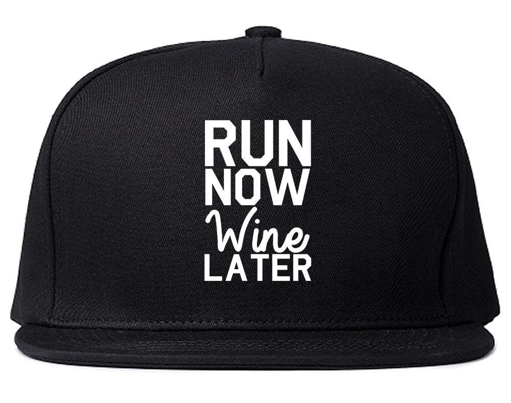 Run Now Wine Later Workout Gym Snapback Hat Black