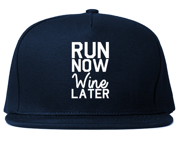 Run Now Wine Later Workout Gym Snapback Hat Blue