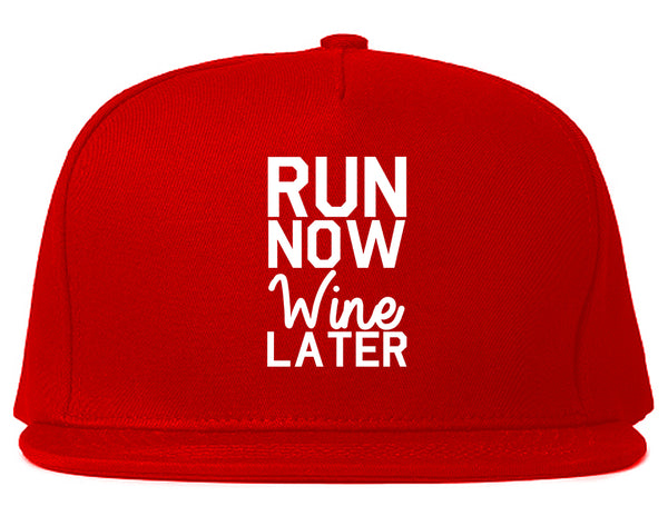 Run Now Wine Later Workout Gym Snapback Hat Red