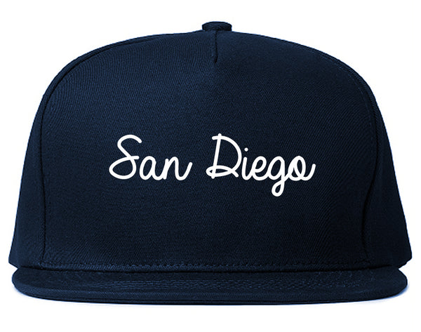 San Diego CA Script Chest Blue Snapback Hat