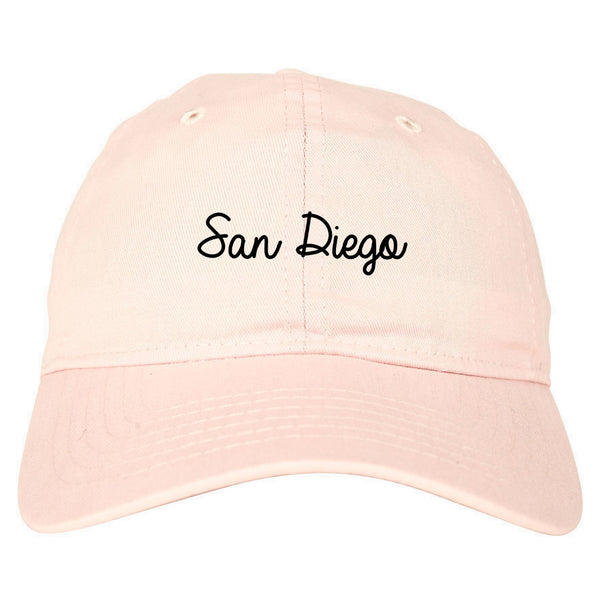 San Diego CA Script Chest pink dad hat