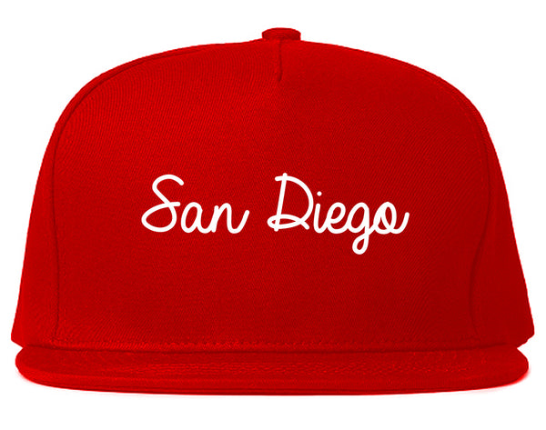 San Diego CA Script Chest Red Snapback Hat