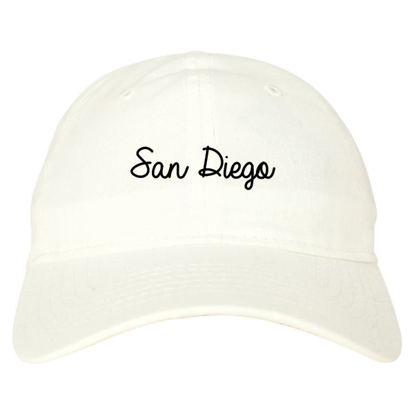 San Diego CA Script Chest white dad hat
