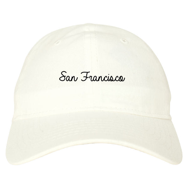 San Francisco CA Script Chest white dad hat