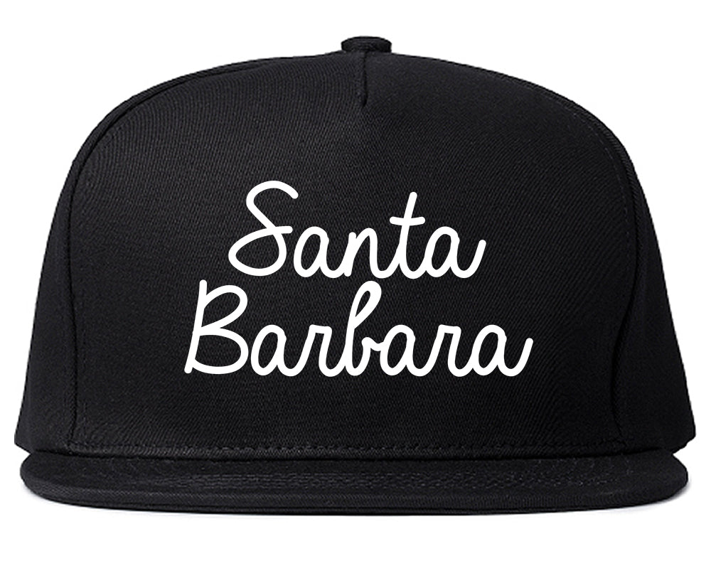 Santa Barbara CA Script Chest Black Snapback Hat
