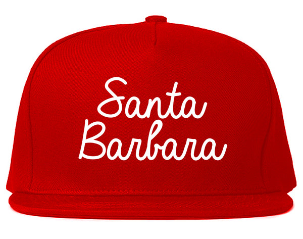 Santa Barbara CA Script Chest Red Snapback Hat