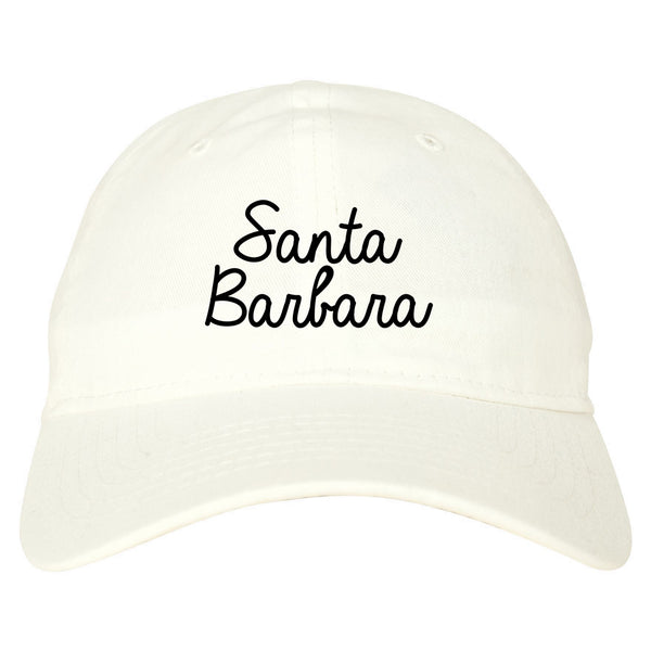 Santa Barbara CA Script Chest white dad hat