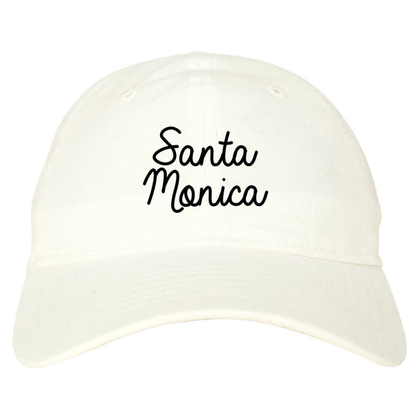 Santa Monica CA Script Chest white dad hat
