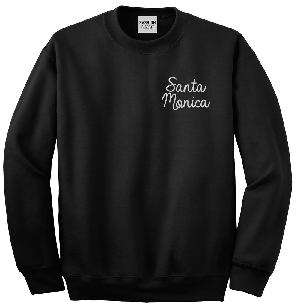 Santa Monica CA Script Chest Black Womens Crewneck Sweatshirt