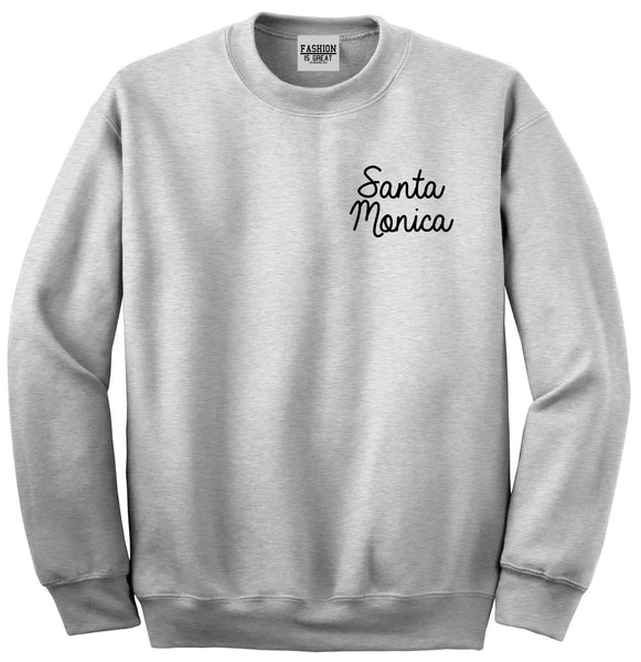 Santa Monica CA Script Chest Grey Womens Crewneck Sweatshirt