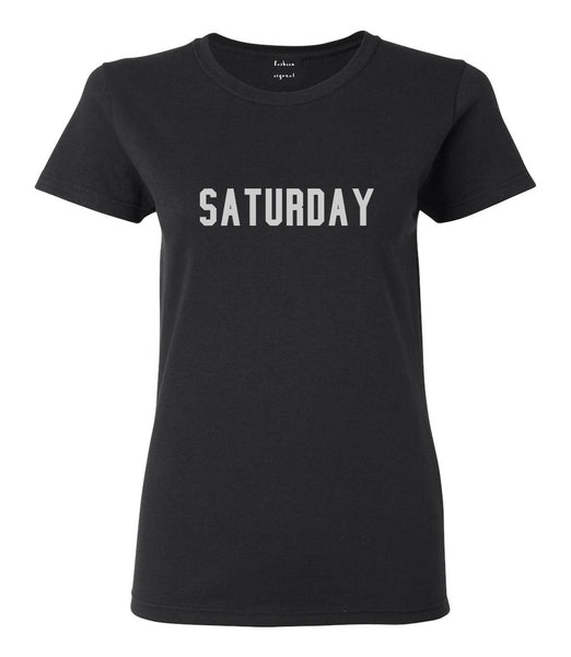 Saturday Days Of The Week Black Womens T-Shirt