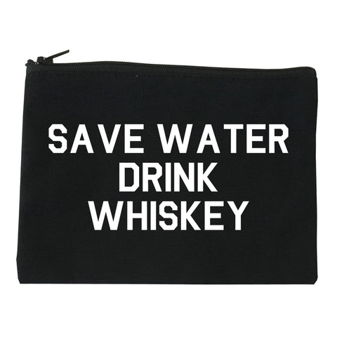 Save Water Drink Whiskey Black Makeup Bag