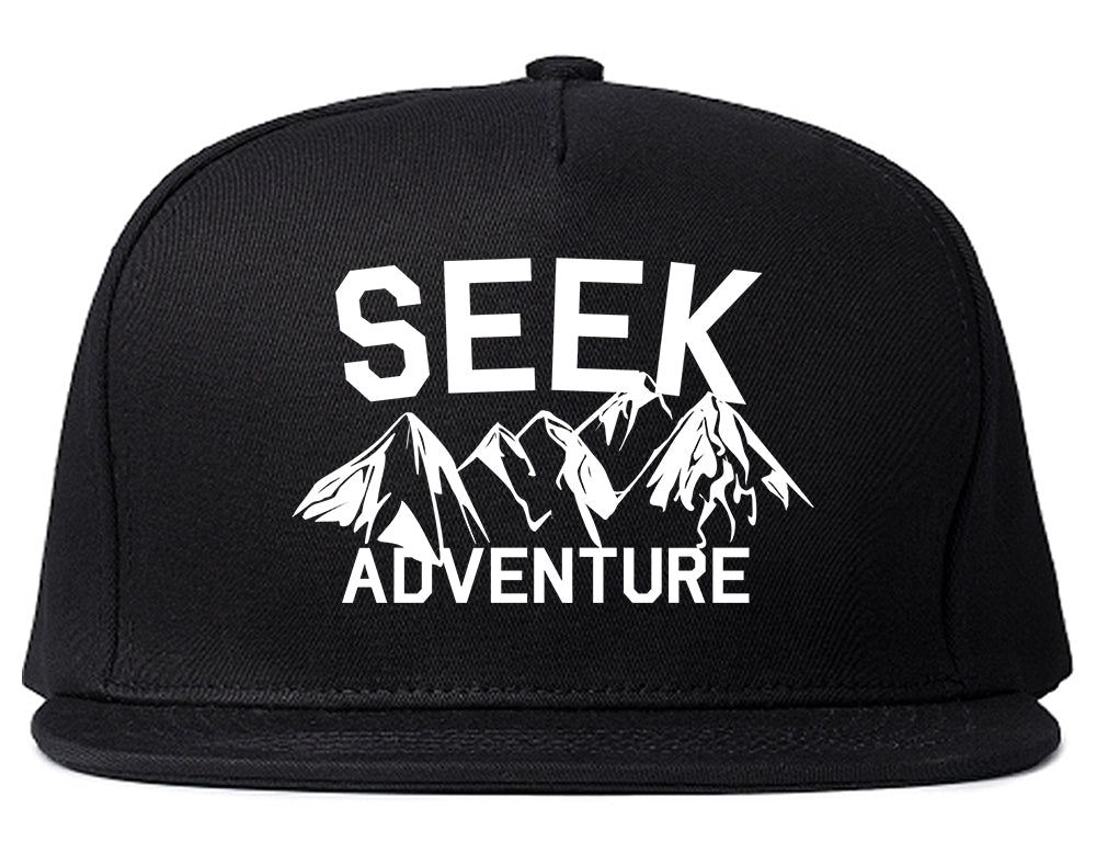 Seek Adventure Hiking Camping Snapback Hat Black