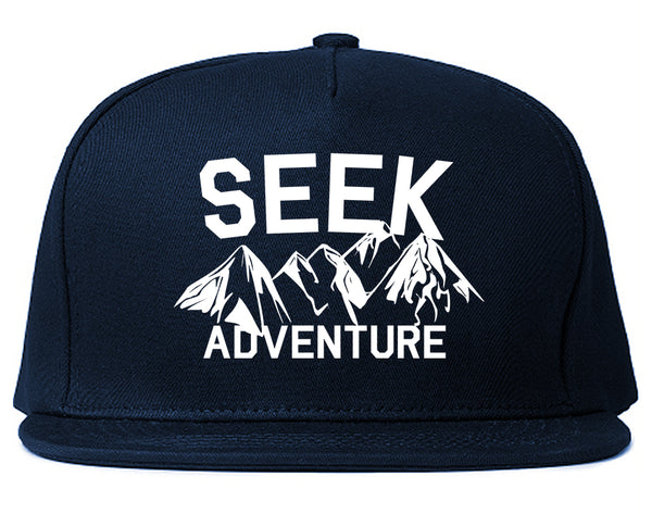 Seek Adventure Hiking Camping Snapback Hat Blue