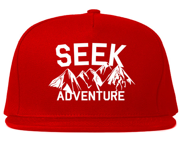 Seek Adventure Hiking Camping Snapback Hat Red