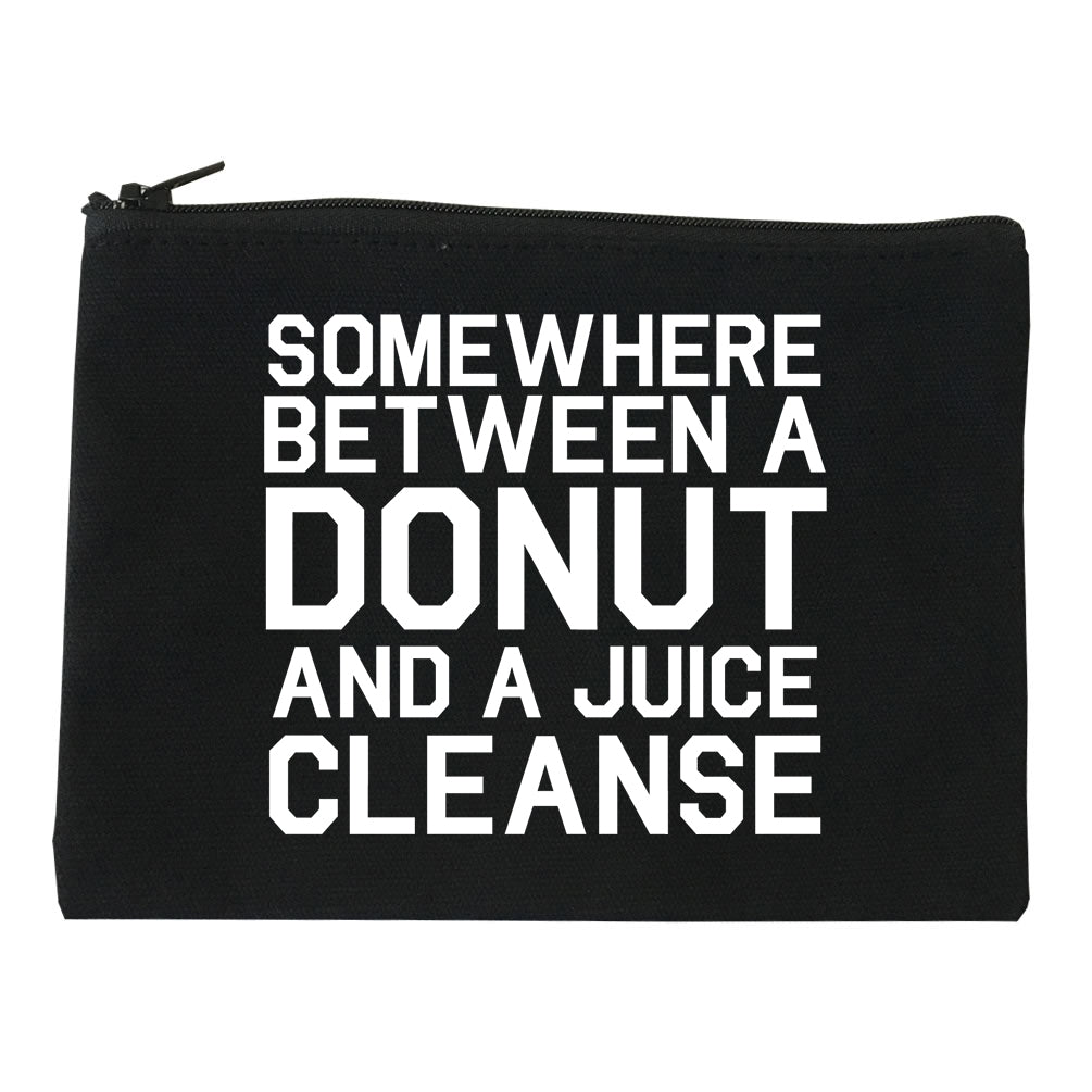Somewhere Between A Donut And A Juice Cleanse Workout Makeup Bag Red