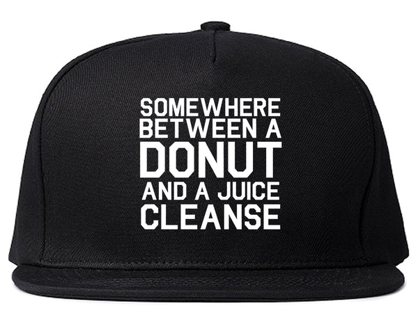 Somewhere Between A Donut And A Juice Cleanse Workout Snapback Hat Black