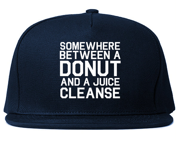 Somewhere Between A Donut And A Juice Cleanse Workout Snapback Hat Blue