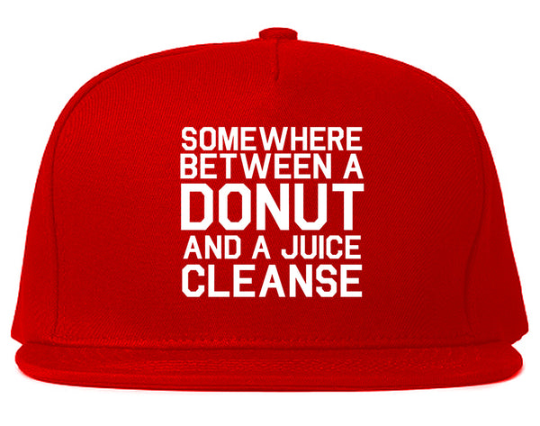Somewhere Between A Donut And A Juice Cleanse Workout Snapback Hat Red