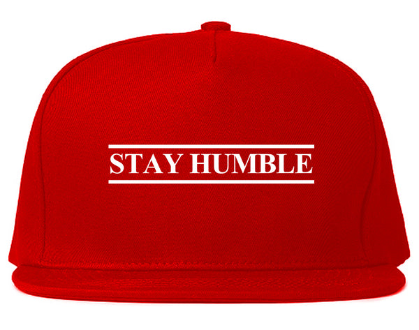 Stay Humble Lines Red Snapback Hat
