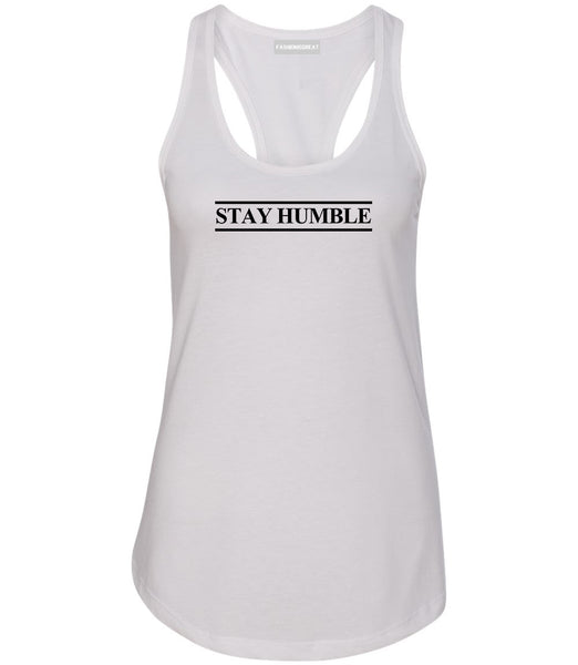 Stay Humble Lines White Womens Racerback Tank Top