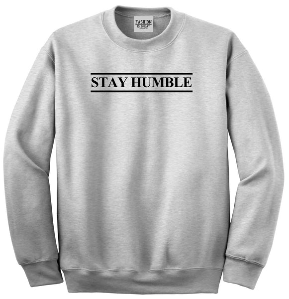 Stay Humble Lines Grey Womens Crewneck Sweatshirt