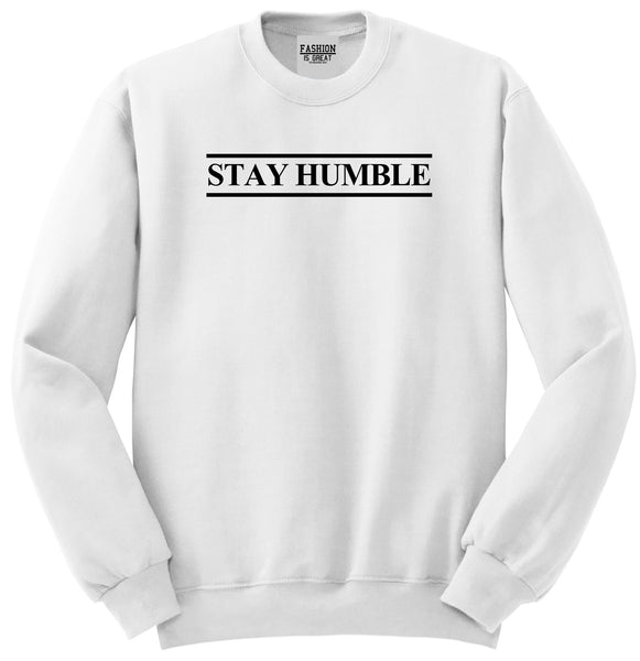Stay Humble Lines White Womens Crewneck Sweatshirt