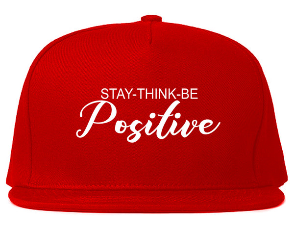 Stay Think Be Positive Red Snapback Hat