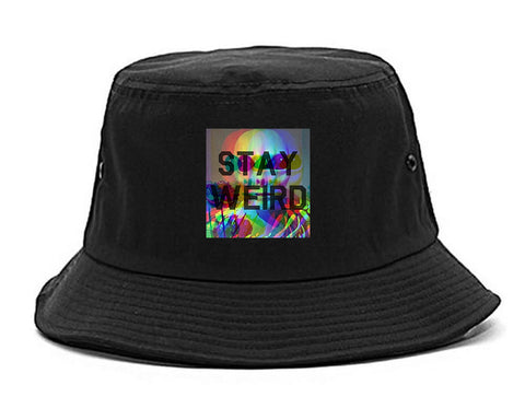 Stay Weird Alien Psychedelic black Bucket Hat