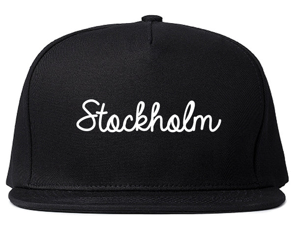 Stockholm Sweden Script Chest Black Snapback Hat