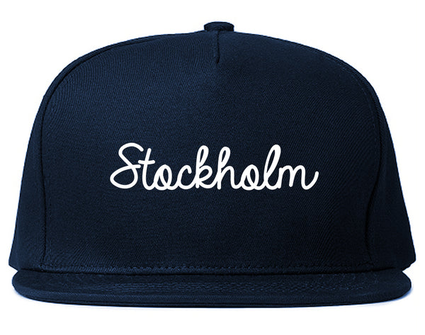 Stockholm Sweden Script Chest Blue Snapback Hat