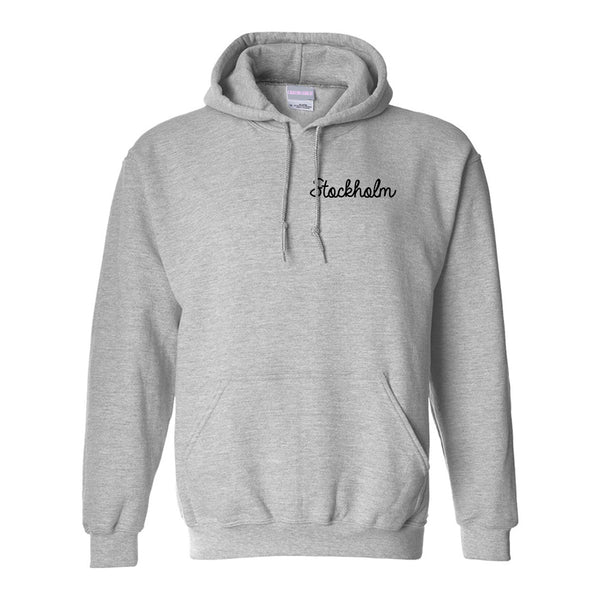 Stockholm Sweden Script Chest Grey Womens Pullover Hoodie