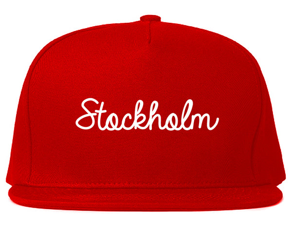 Stockholm Sweden Script Chest Red Snapback Hat