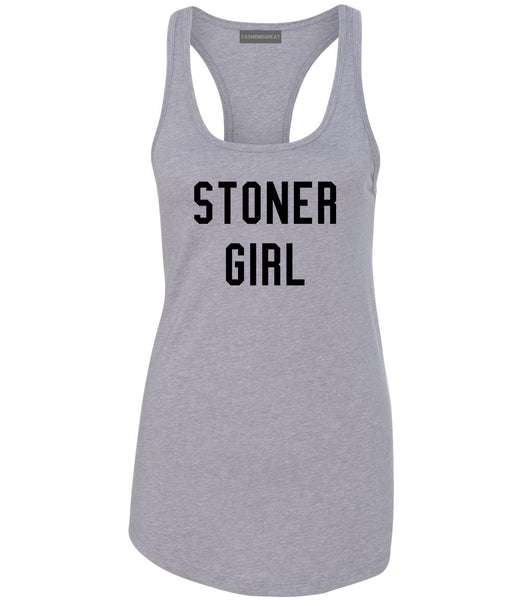 Stoner Girl Womens Racerback Tank Top Grey