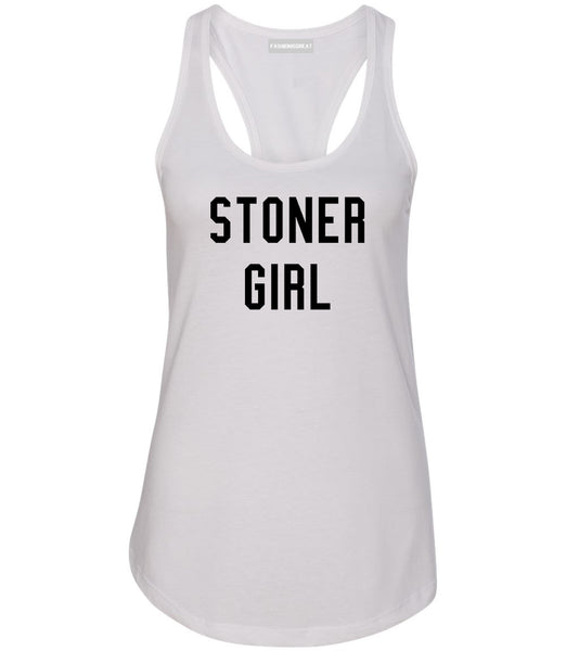 Stoner Girl Womens Racerback Tank Top White