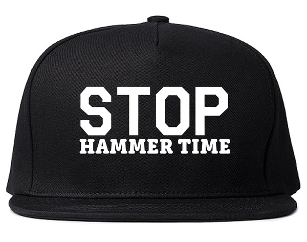 Stop Hammer Time 90s Rap Snapback Hat Black