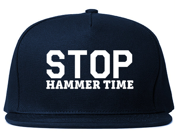 Stop Hammer Time 90s Rap Snapback Hat Blue