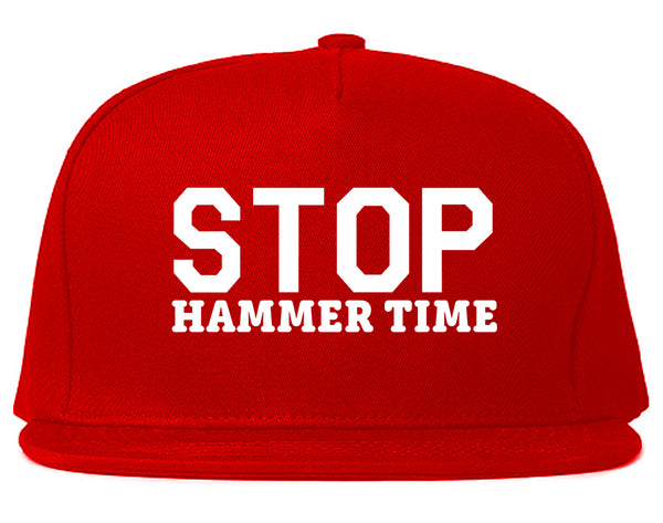 Stop Hammer Time 90s Rap Snapback Hat Red