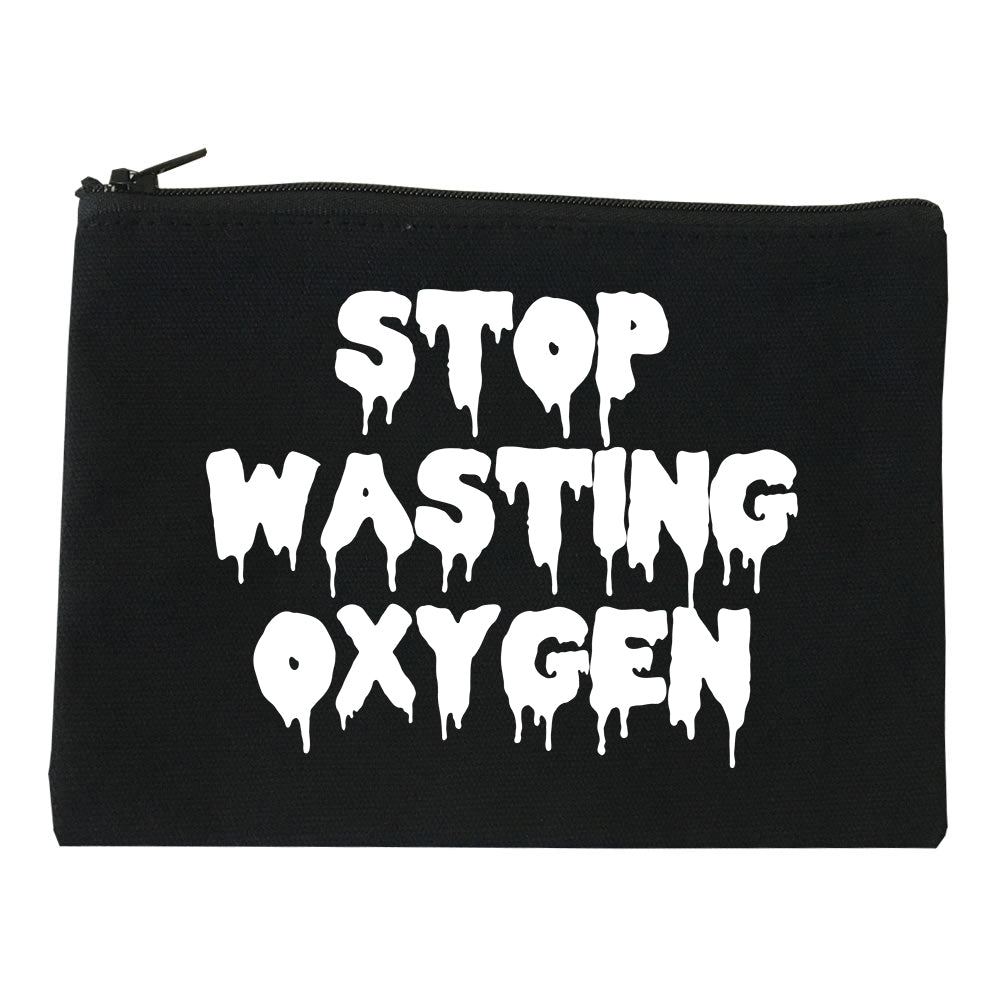 Stop Wasting Oxygen Funny Goth Makeup Bag Red