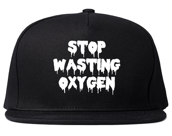 Stop Wasting Oxygen Funny Goth Snapback Hat Black