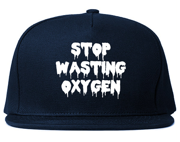 Stop Wasting Oxygen Funny Goth Snapback Hat Blue