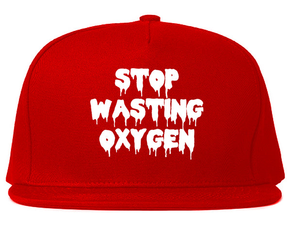 Stop Wasting Oxygen Funny Goth Snapback Hat Red
